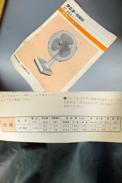 レトロ感満載 1975年(昭和50年) 未使用・サンヨー卓上型扇風機 元箱入り_画像10