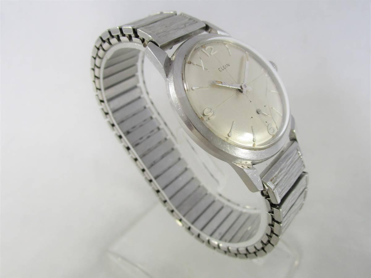 ELGIN エルジン アンティーク ビンテージ 手巻き 腕時計 1960年代 アメリカ 19石 男性用シルバー銀色 ウォッチ SPEIDEL ベルト バンド付き_画像2