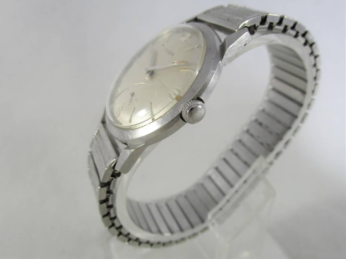 ELGIN エルジン アンティーク ビンテージ 手巻き 腕時計 1960年代 アメリカ 19石 男性用シルバー銀色 ウォッチ SPEIDEL ベルト バンド付き_画像4