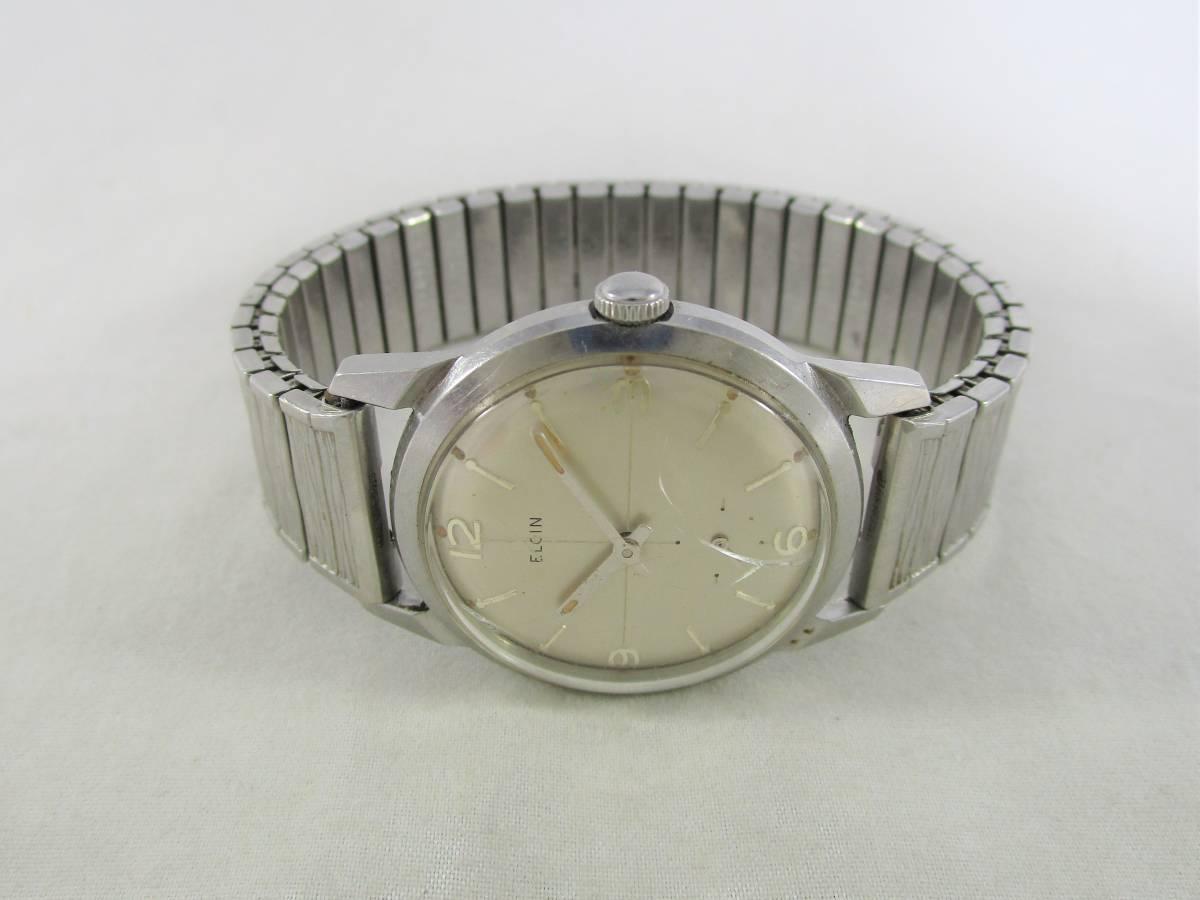 ELGIN エルジン アンティーク ビンテージ 手巻き 腕時計 1960年代 アメリカ 19石 男性用シルバー銀色 ウォッチ SPEIDEL ベルト バンド付き_画像5