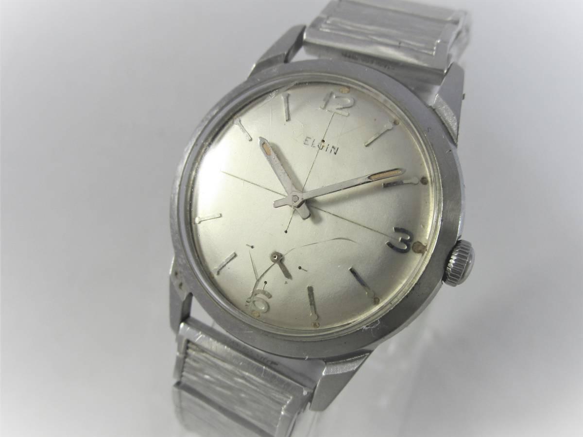 ELGIN エルジン アンティーク ビンテージ 手巻き 腕時計 1960年代 アメリカ 19石 男性用シルバー銀色 ウォッチ SPEIDEL ベルト バンド付き_画像1