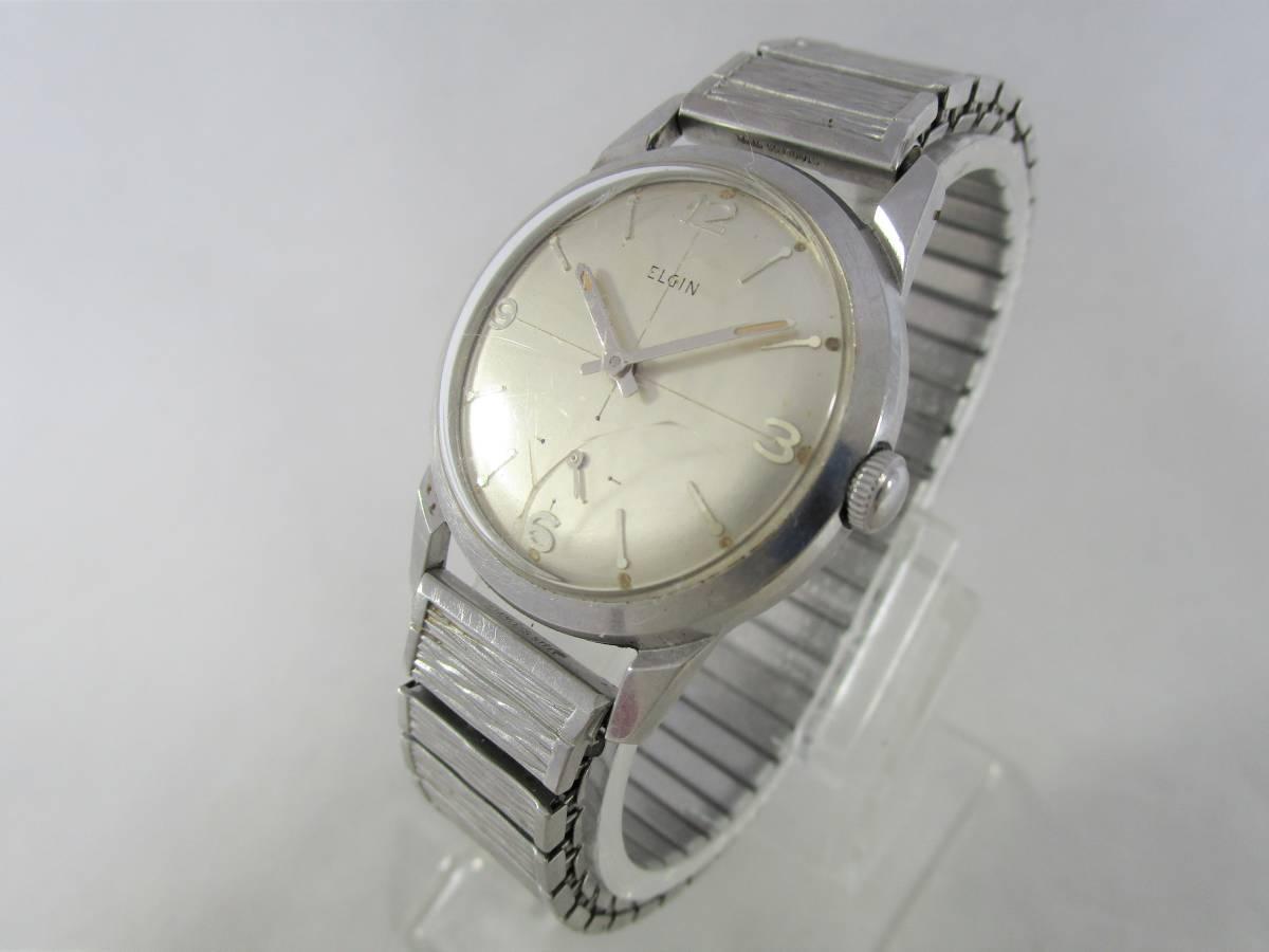 ELGIN エルジン アンティーク ビンテージ 手巻き 腕時計 1960年代 アメリカ 19石 男性用シルバー銀色 ウォッチ SPEIDEL ベルト バンド付き_画像3