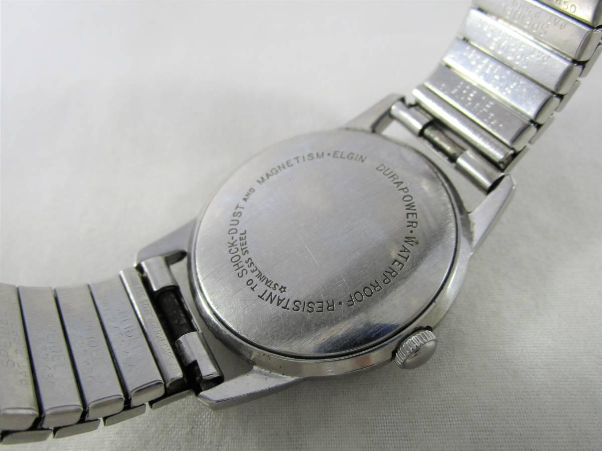 ELGIN エルジン アンティーク ビンテージ 手巻き 腕時計 1960年代 アメリカ 19石 男性用シルバー銀色 ウォッチ SPEIDEL ベルト バンド付き_画像6