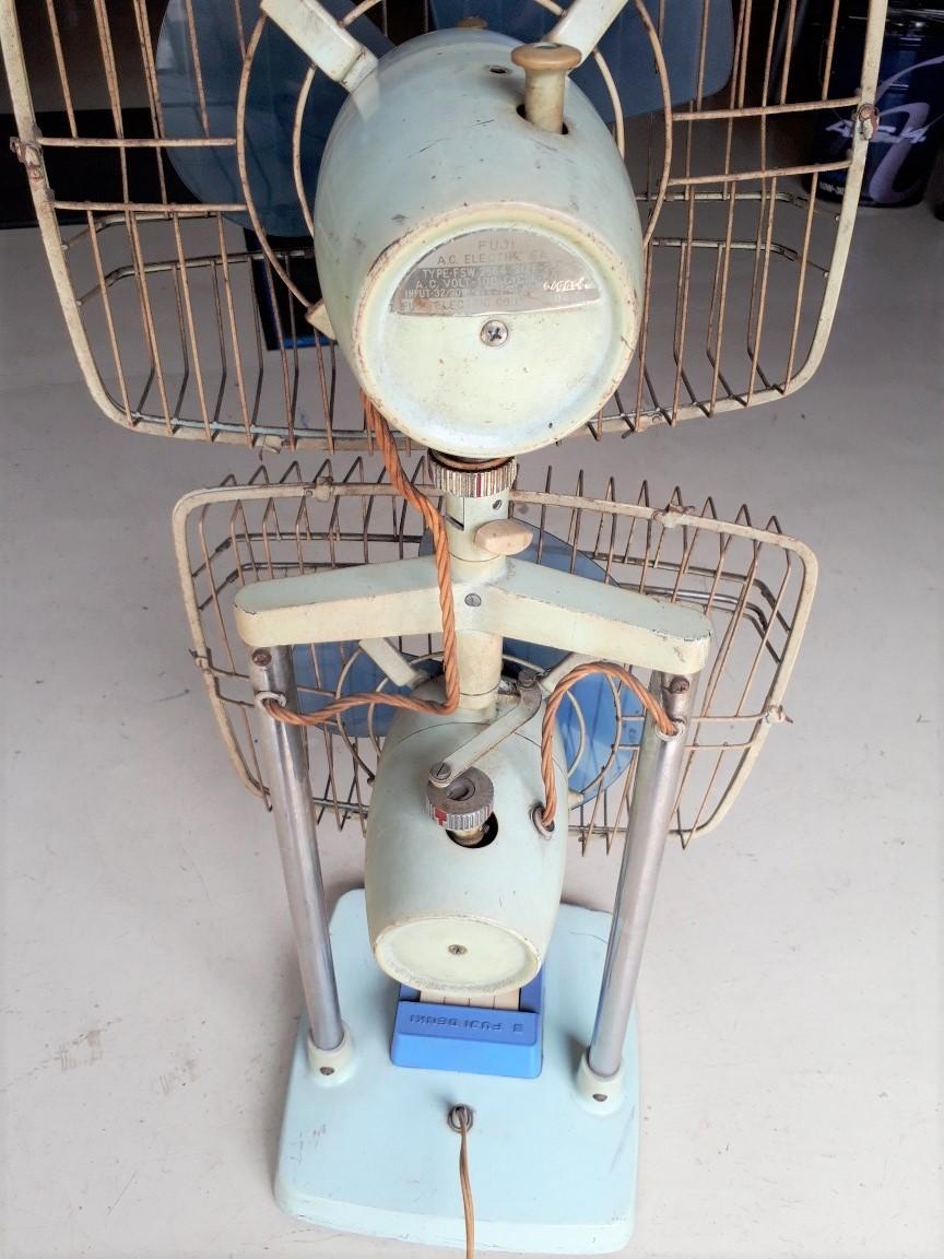 レトロ扇風機 希少 激レア 富士電機 2段式 アンティーク コレクション 中古現状_画像3