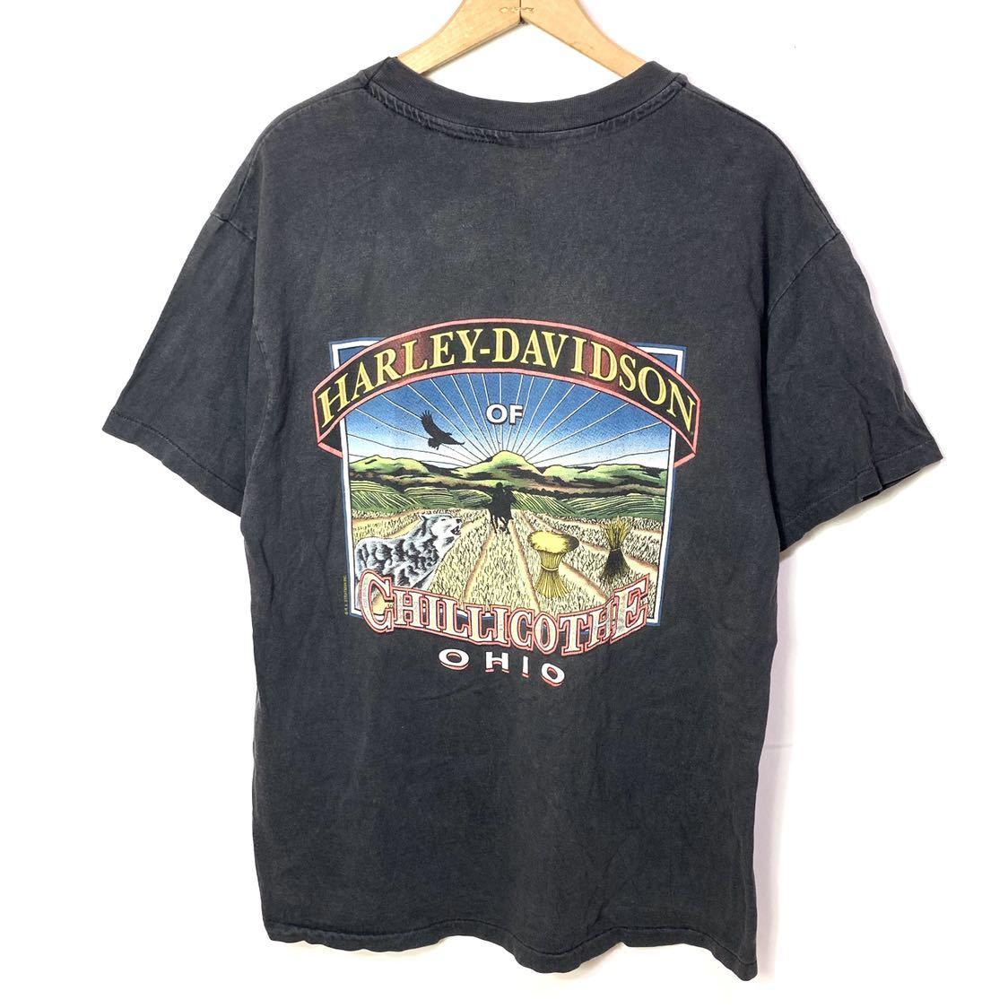 ■HARLEY-DAVIDSON ハーレーダビッドソン CHILLICOTHE OHIO イーグルロゴ プリント 半袖Tシャツ/古着 アメカジ バイカー ブラック 黒色■_画像5