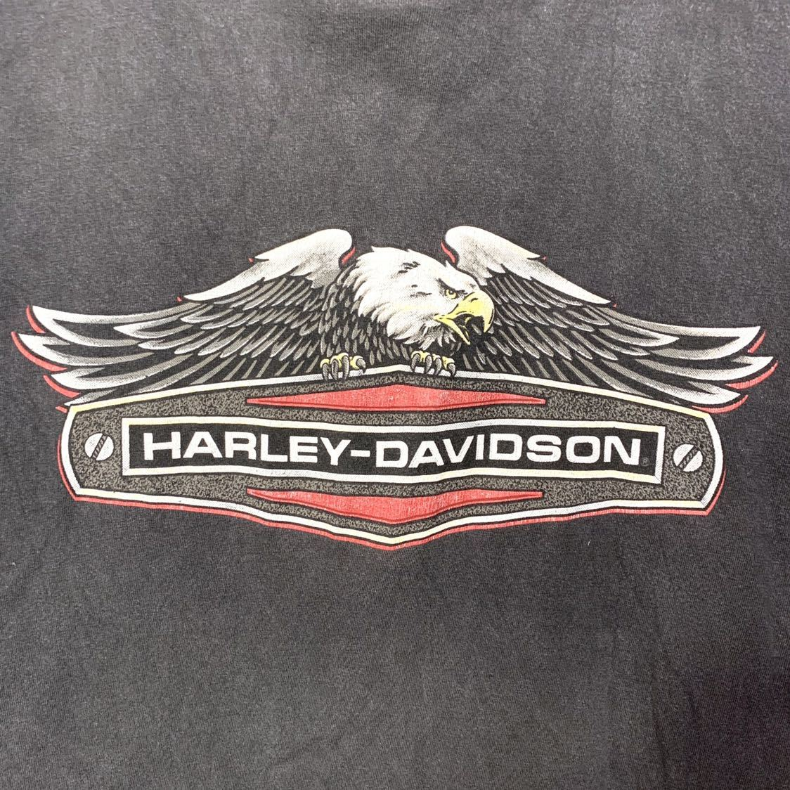 ■HARLEY-DAVIDSON ハーレーダビッドソン CHILLICOTHE OHIO イーグルロゴ プリント 半袖Tシャツ/古着 アメカジ バイカー ブラック 黒色■_画像4