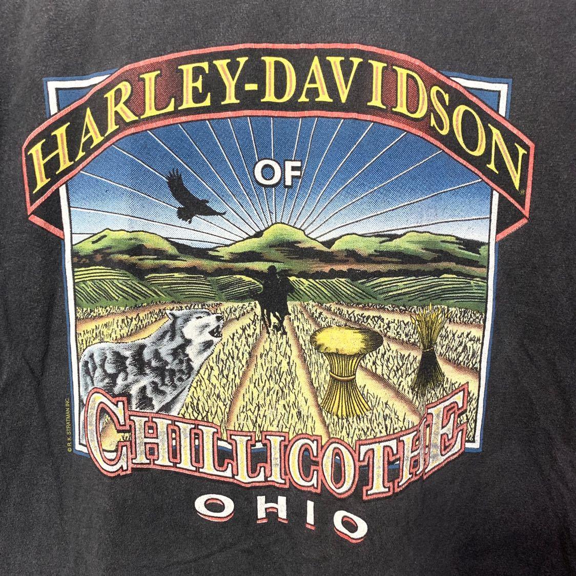 ■HARLEY-DAVIDSON ハーレーダビッドソン CHILLICOTHE OHIO イーグルロゴ プリント 半袖Tシャツ/古着 アメカジ バイカー ブラック 黒色■_画像6