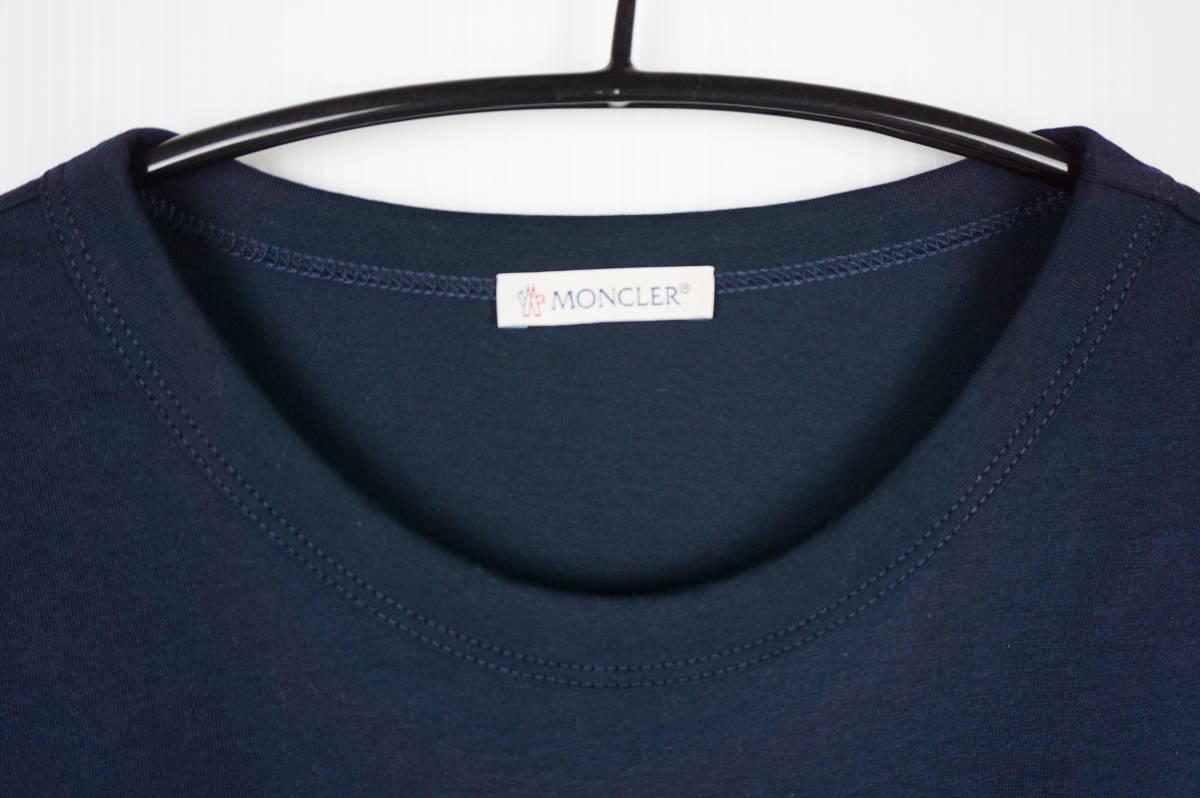 新品同様 希少モデル 国内正規品 モンクレール/ Tシャツ サイズS 刺繍特大ロゴ 最新認証タグ付(管理番号H19)_画像3