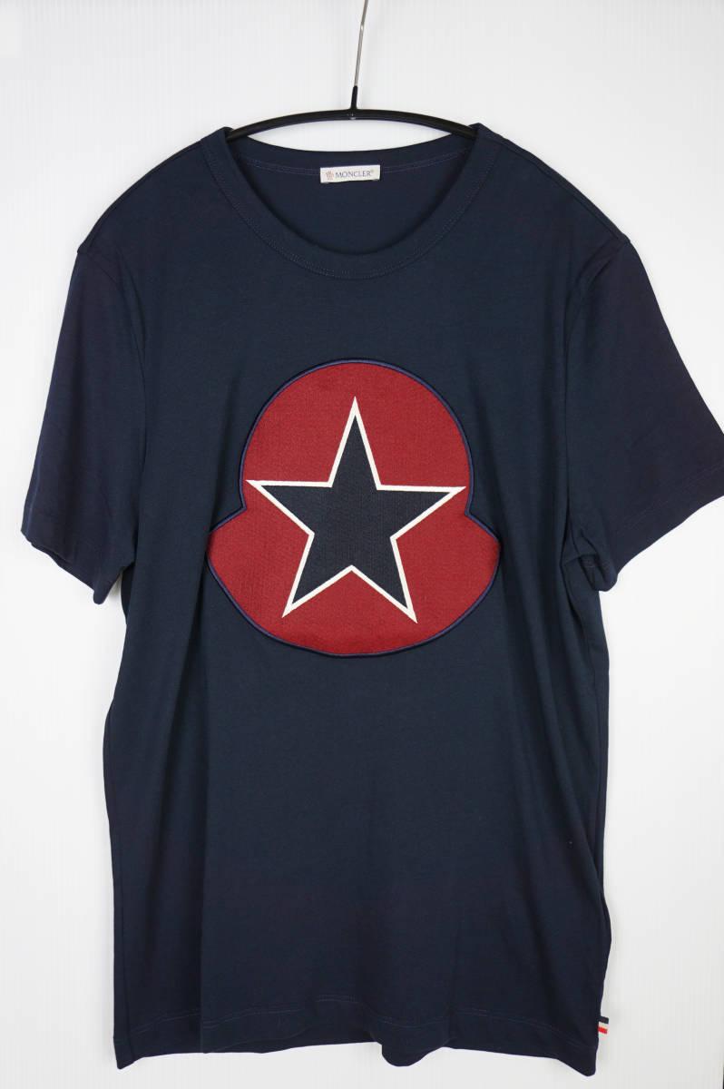 新品同様 希少モデル 国内正規品 モンクレール/ Tシャツ サイズS 刺繍特大ロゴ 最新認証タグ付(管理番号H19)