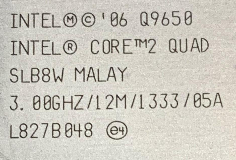 送料無料★775 LGAの最高峰!Core 2Quad Q9650 3.00GHz 12M 1333 動作品_画像3