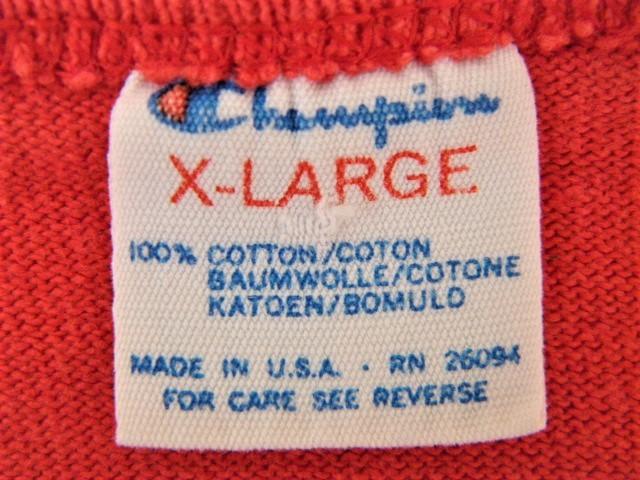 ビンテージ 70s80s champion チャンピオン Tシャツ 初期1st 旧タグ旧ロゴ OLDプリント 目玉 トリコタグ バータグ ランタグ 後付け 単色_画像4