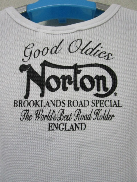 新品!(S02)Norton タンクトップ・白(ノートンモーターサイクルノースリーブUK英国旧車バイクオートバイ)_画像2
