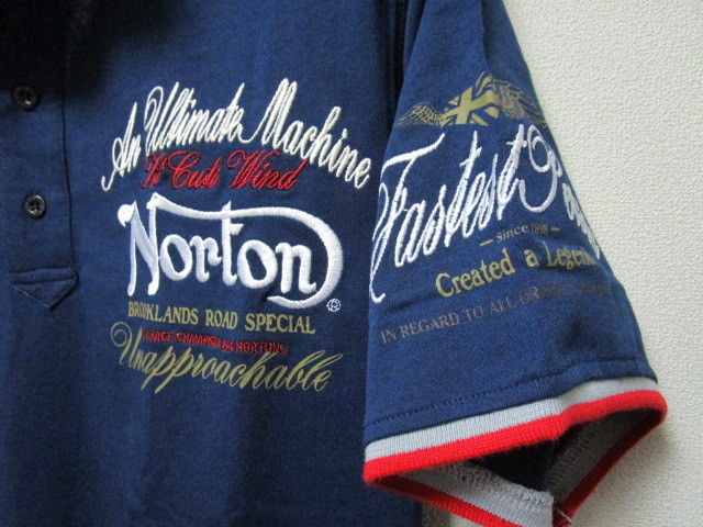 新品!(P09)Norton 半袖ポロシャツ(ノートンモーターサイクルUK英国旧車バイクオートバイ)_画像7