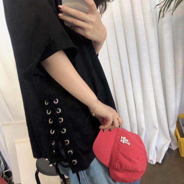 カットソー チュニック 裾スピンドル ブラック 半袖 大きいサイズ