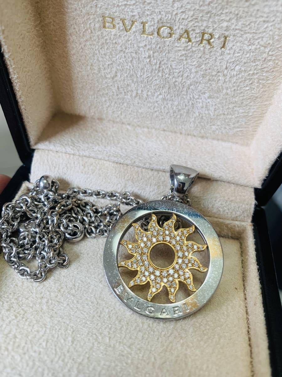 【BVLGARI】トンド サン パヴエ ダイヤモンド ペンダント + 61mm ネックレス ホワイトゴールド_画像3