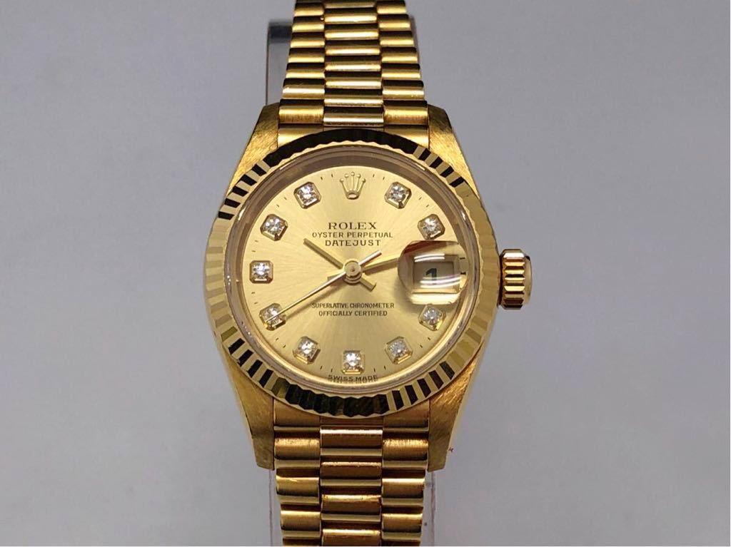 【1円】★美品★ ROLEX DATEJUST 腕時計 中古 自動巻 稼働品 69178G 保証書付き 付属品多数 ゴールド 箱あり ロレックス T番