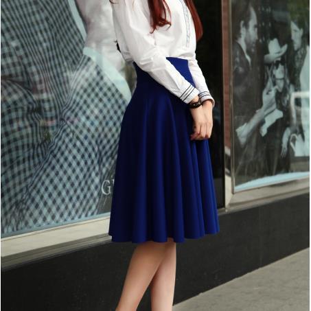【送料無料!】春 ハイウェスト 腰高 ふんわり フレア Aライン 無地 膝下丈 上品 きれいめ スカート レディース 女性 ホワイト M_画像4