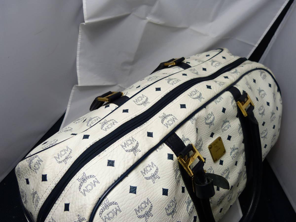 ★良品★ 2wayボストンバッグ ショルダー付き レザー ホワイト MCM ボストンバッグ 旅行 トラベル お薦め_画像3