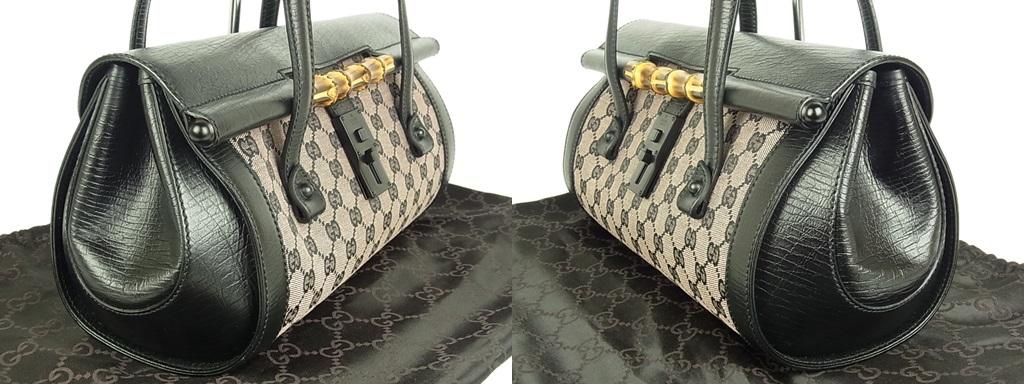 1円 グッチ GUCCI 未使用 イタリア製 GG キャンバス×レザー バンブー 肩がけ ショルダー ハンドバッグ 保存袋付き_画像4