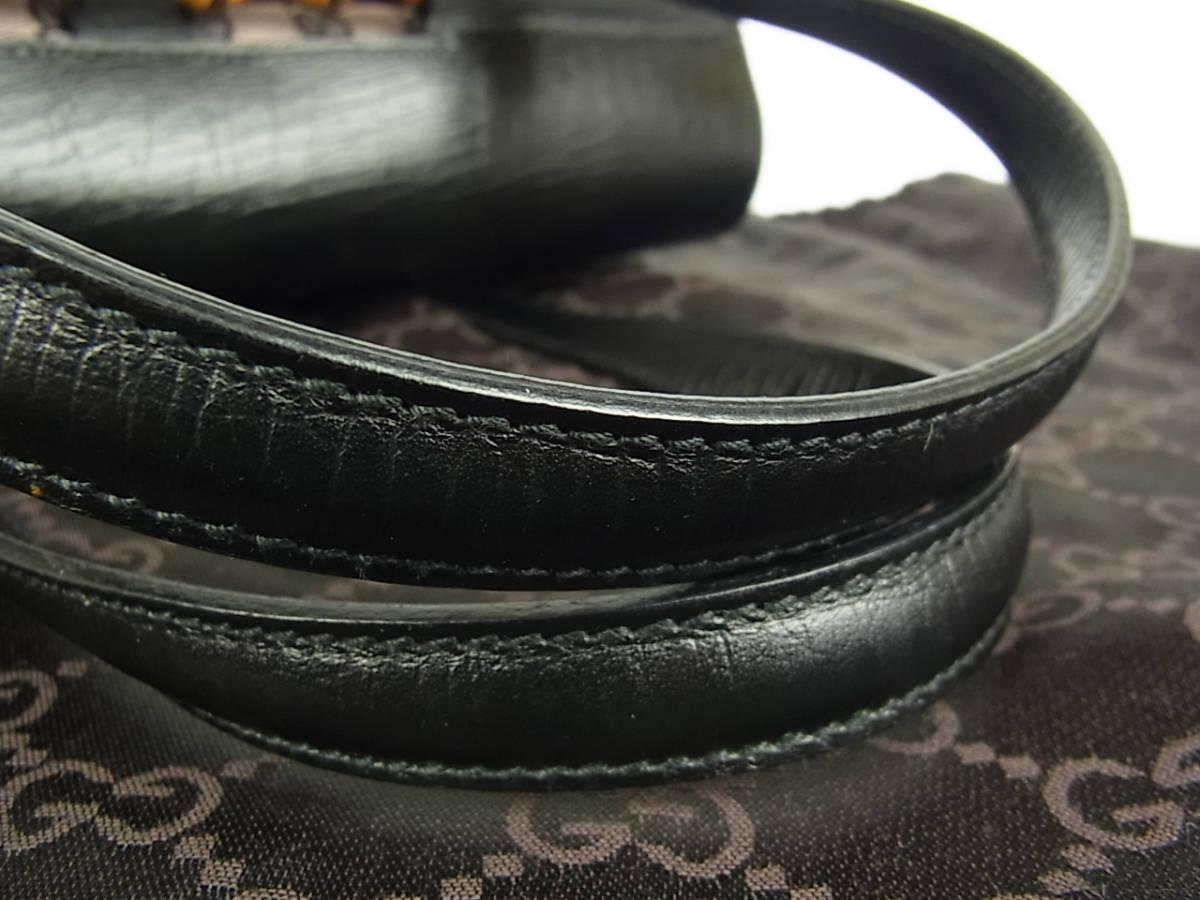 1円 グッチ GUCCI 未使用 イタリア製 GG キャンバス×レザー バンブー 肩がけ ショルダー ハンドバッグ 保存袋付き_画像5