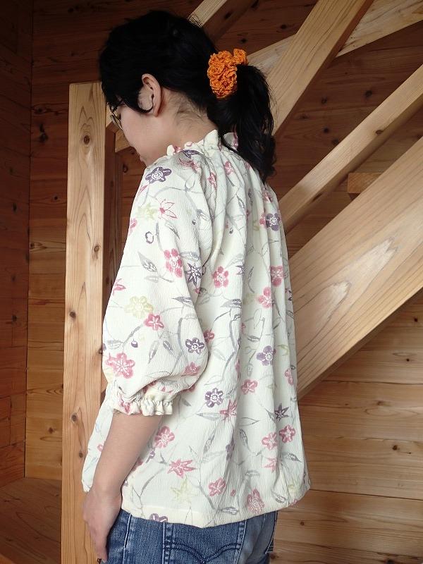 着物リメイク ギャザーブラウス ラグラン袖 M~Lサイズ アンティーク着物から