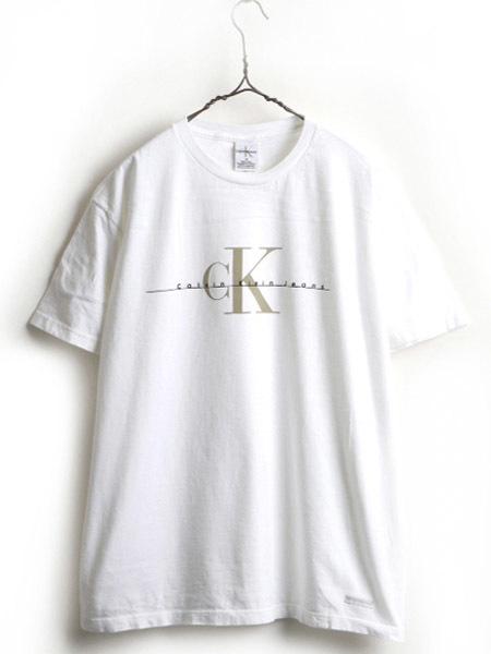 90's ■ Calvin Klein Jeans カルバンクライン ジーンズ CK ロゴ プリント 半袖 Tシャツ ( メンズ 男性 M ) 90年代 古着 半袖Tシャツ 白_画像1