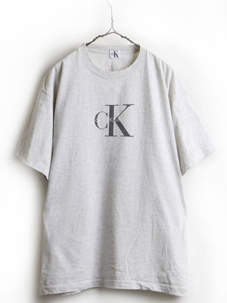 90's ■ Calvin Klein Jeans カルバンクライン CK ロゴ プリント 半袖 Tシャツ ( 男性 メンズ L 程) 90年代 古着 ビッグシルエット 灰 薄灰_画像1
