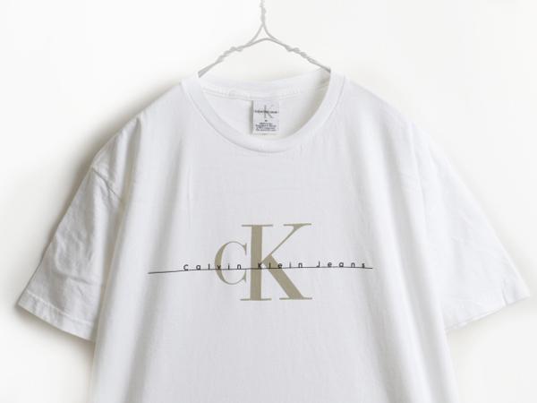 90's ■ Calvin Klein Jeans カルバンクライン ジーンズ CK ロゴ プリント 半袖 Tシャツ ( メンズ 男性 M ) 90年代 古着 半袖Tシャツ 白_画像2