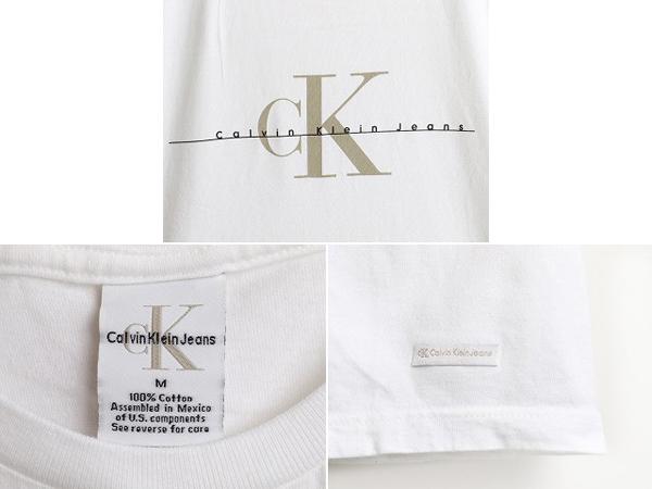 90's ■ Calvin Klein Jeans カルバンクライン ジーンズ CK ロゴ プリント 半袖 Tシャツ ( メンズ 男性 M ) 90年代 古着 半袖Tシャツ 白_画像3