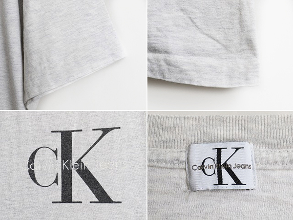 90's ■ Calvin Klein Jeans カルバンクライン CK ロゴ プリント 半袖 Tシャツ ( 男性 メンズ L 程) 90年代 古着 ビッグシルエット 灰 薄灰_画像3