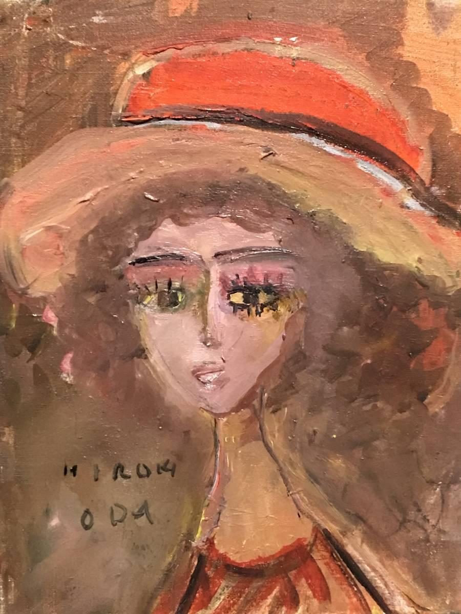 【純】織田広喜「油彩3号~少女・赤い帽子が魅力の傑作品」二科会理事長・日本芸術院会員_画像2