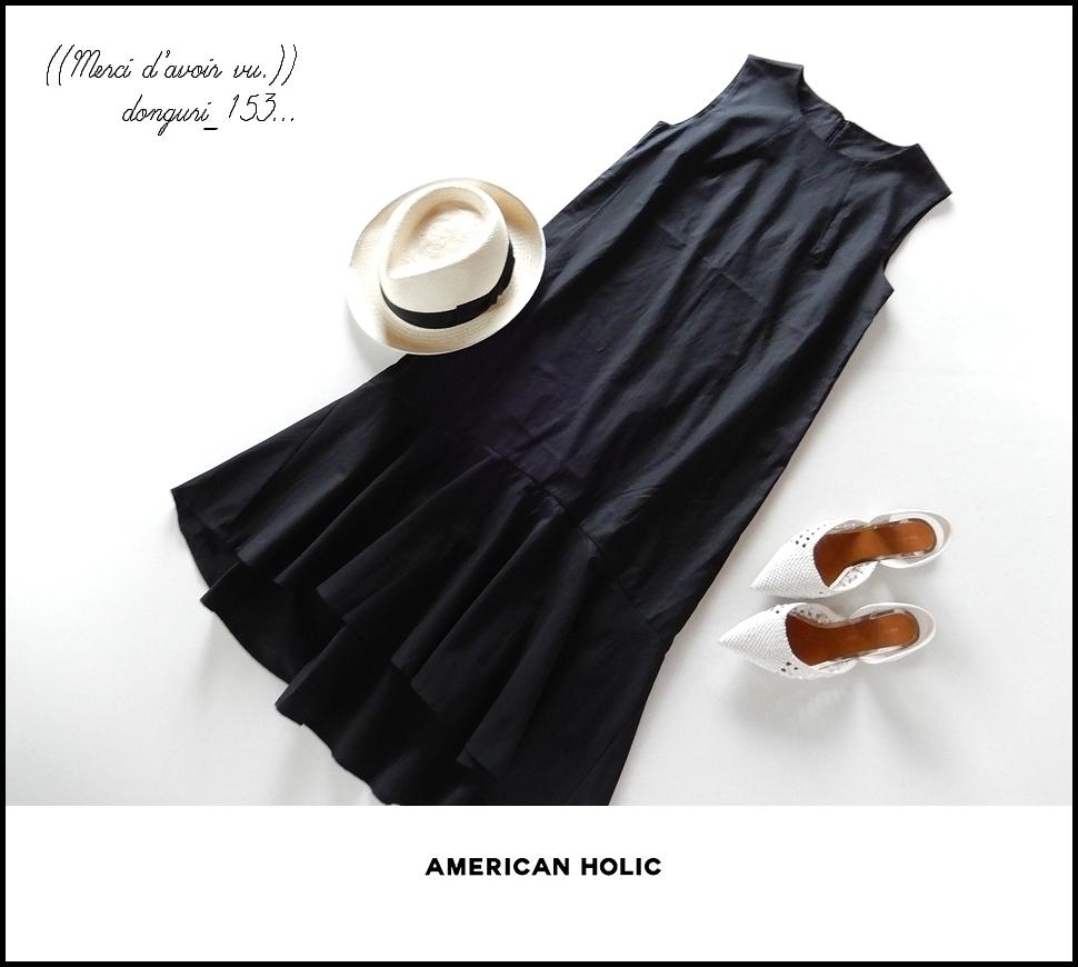 【送料無料】AMERICAN HOLIC アメリカンホリック◆裾フレア切替 ノースリーブワンピース/黒F