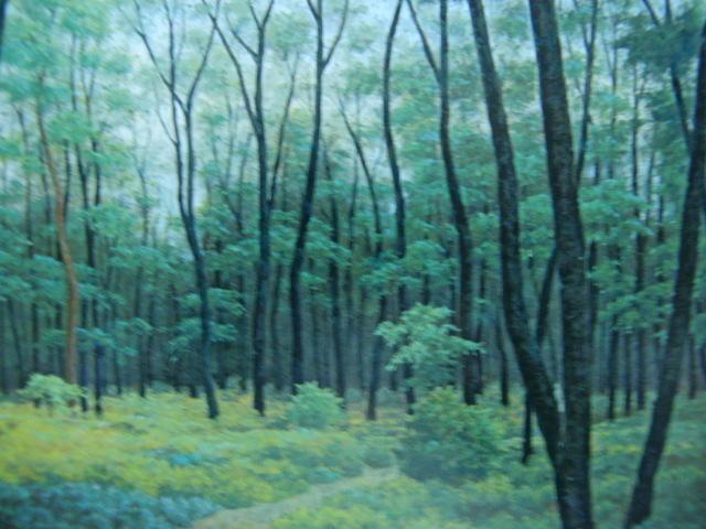 成田 ていすけ 【森の散歩道】 希少画集画、状態良好、新品高級額装付、送料無料、洋画 油彩 風景、zero_画像2