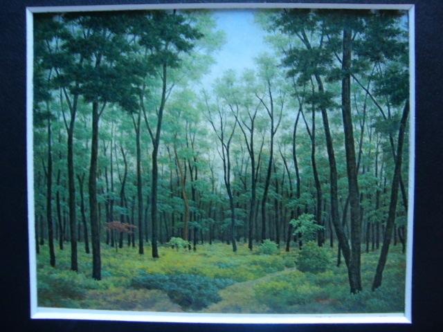 成田 ていすけ 【森の散歩道】 希少画集画、状態良好、新品高級額装付、送料無料、洋画 油彩 風景、zero_画像3