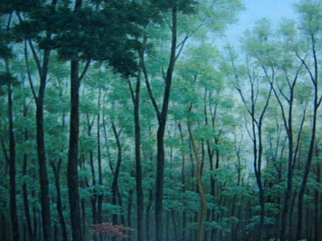 成田 ていすけ 【森の散歩道】 希少画集画、状態良好、新品高級額装付、送料無料、洋画 油彩 風景、zero_画像4