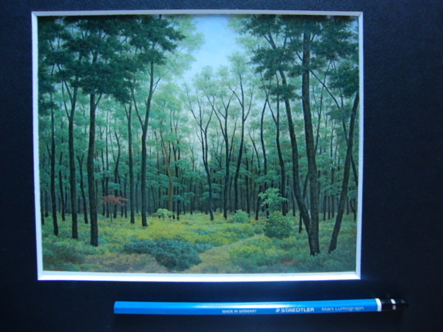 成田 ていすけ 【森の散歩道】 希少画集画、状態良好、新品高級額装付、送料無料、洋画 油彩 風景、zero_画像5
