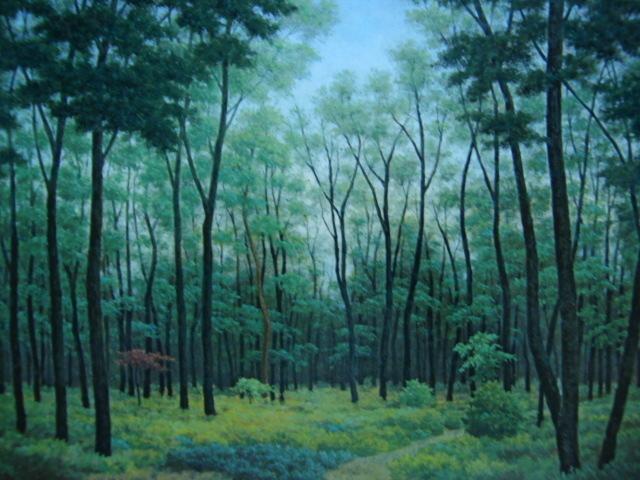 成田 ていすけ 【森の散歩道】 希少画集画、状態良好、新品高級額装付、送料無料、洋画 油彩 風景、zero_画像1