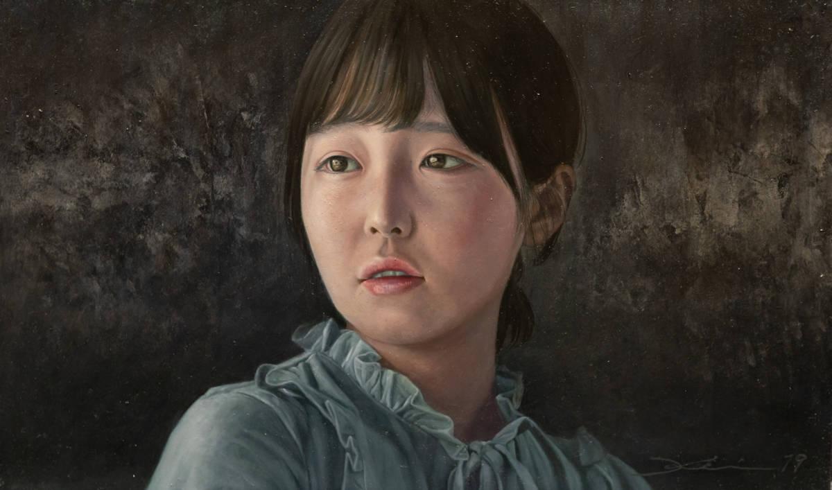 真筆 茅原佳介 油彩 肉筆 写実絵画 リアリズム絵画 M6号 白日会 人物画 Realism Oil p