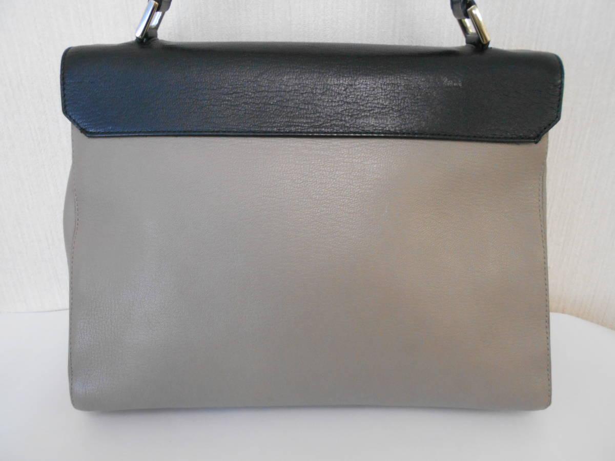 GH18 ANYA HINDMARCHI アニヤハインドマーチ ハンドバッグ バイカラー イタリア製 レザー ブラック×グレー_画像2
