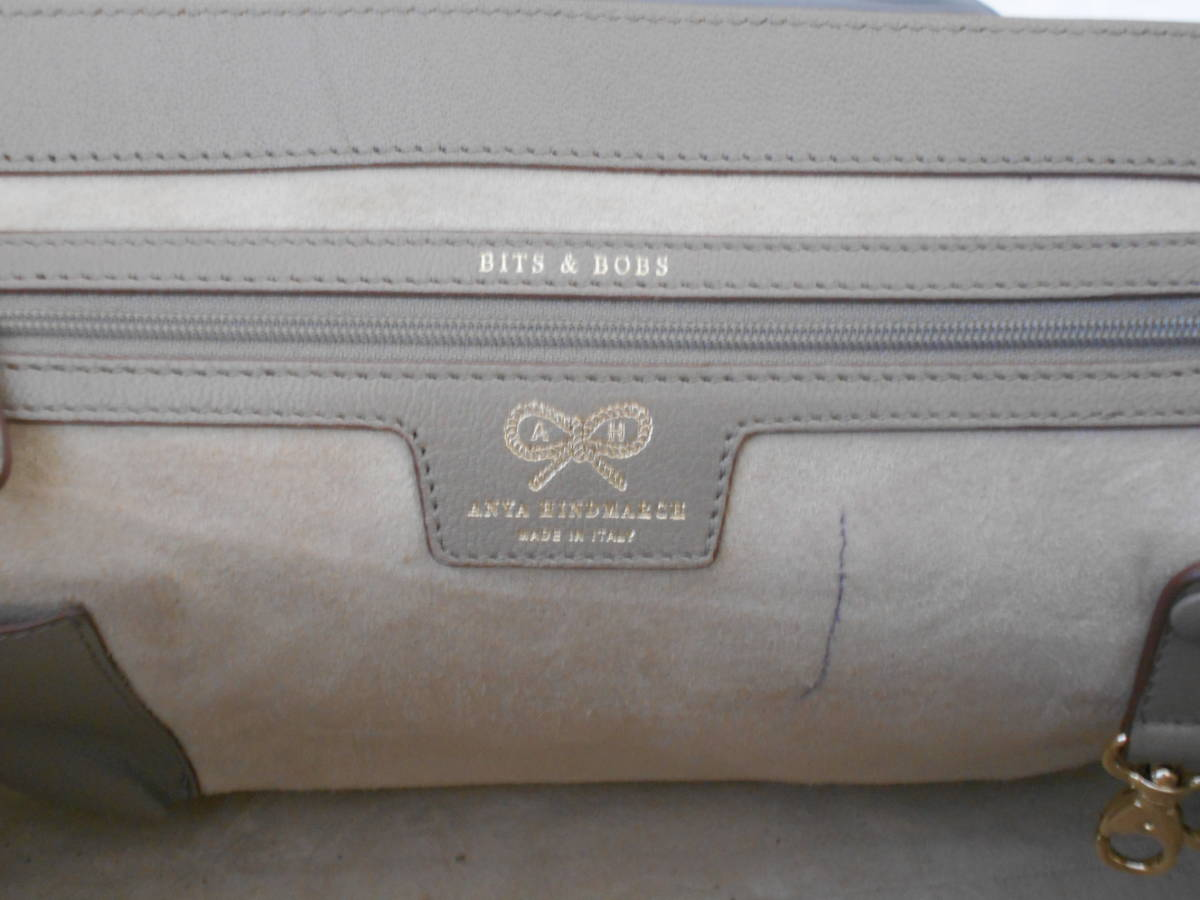 GH18 ANYA HINDMARCHI アニヤハインドマーチ ハンドバッグ バイカラー イタリア製 レザー ブラック×グレー_画像3