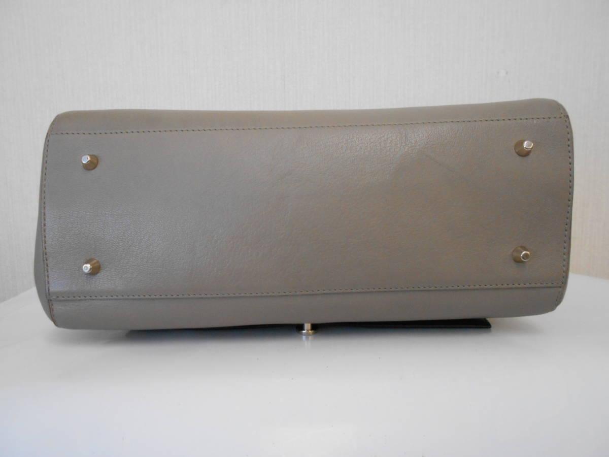 GH18 ANYA HINDMARCHI アニヤハインドマーチ ハンドバッグ バイカラー イタリア製 レザー ブラック×グレー_画像4