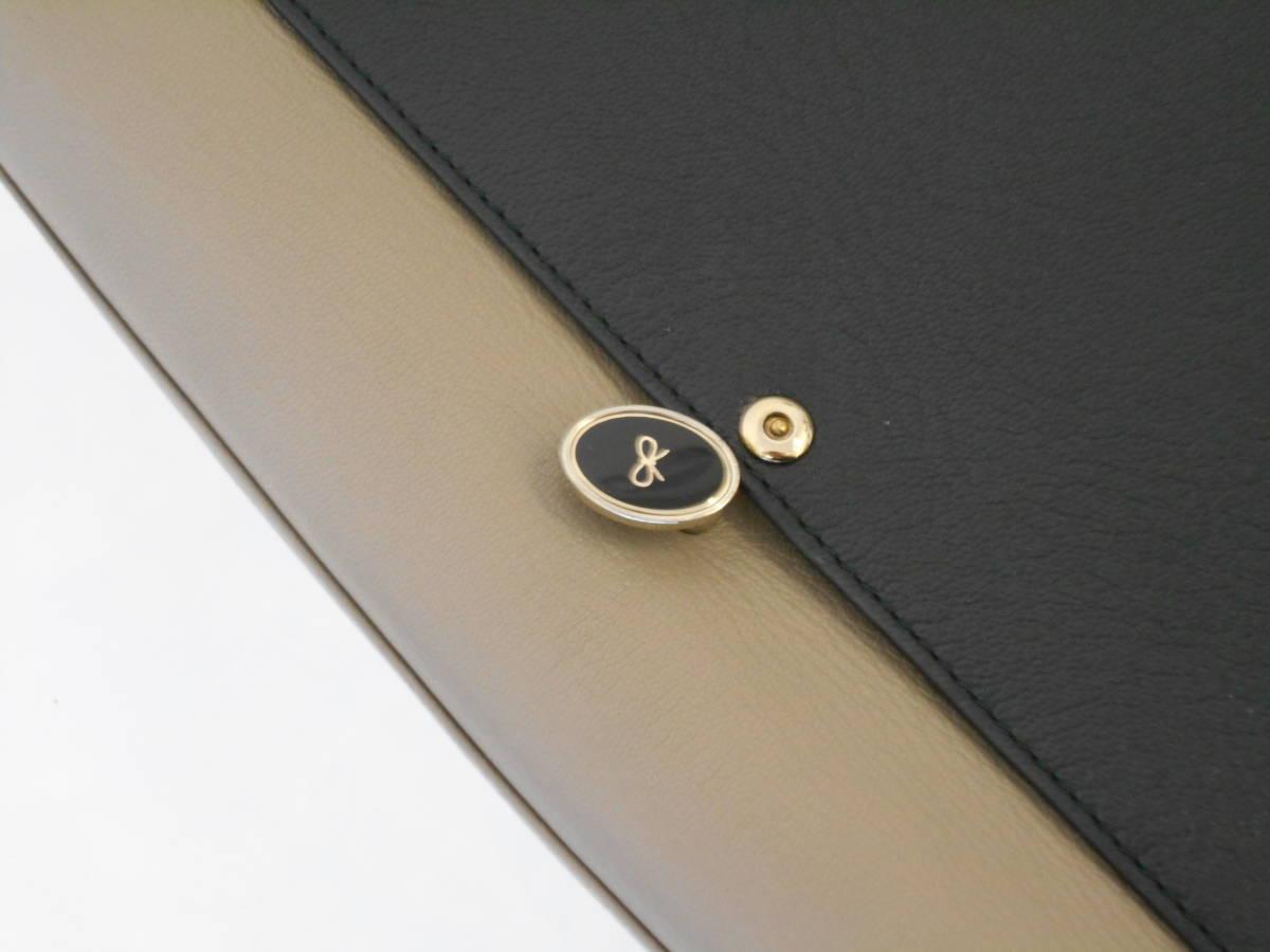 GH18 ANYA HINDMARCHI アニヤハインドマーチ ハンドバッグ バイカラー イタリア製 レザー ブラック×グレー_画像10