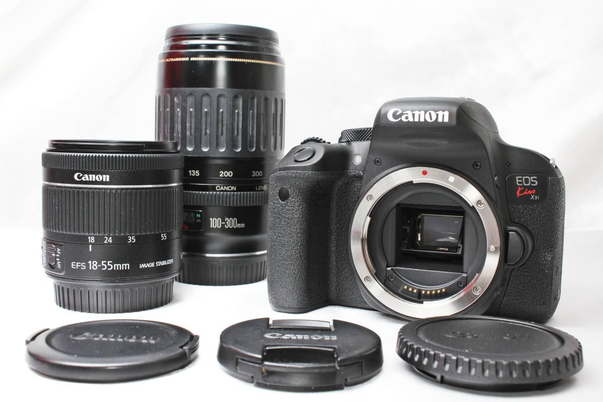 ★【新品未使用 ダブルレンズ スターターセット】 Canon EOS Kiss X9i ★EF-S18-55 IS STM 超望遠 EF100-300 USM ★自撮りOK 取説つき_画像2