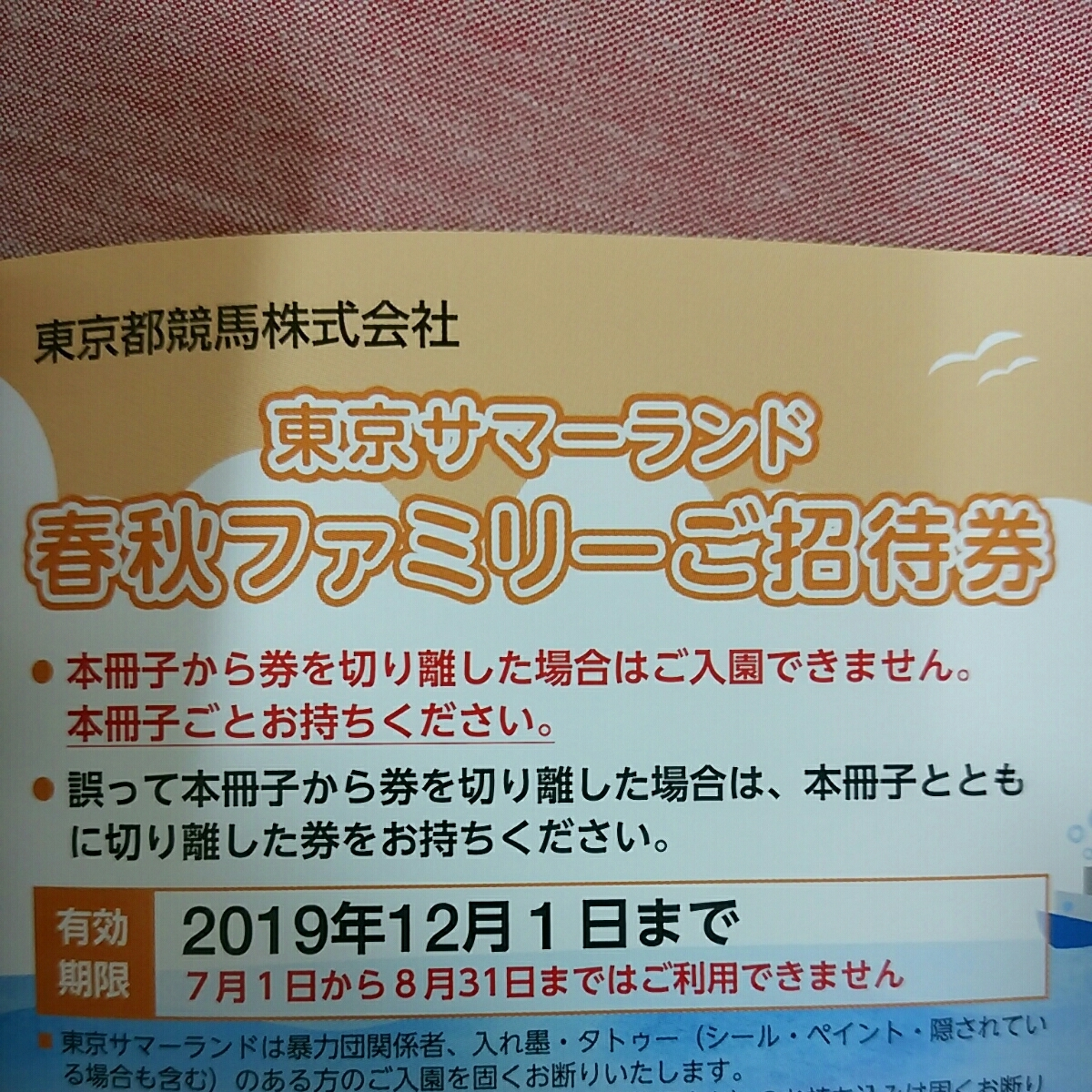 送料無料 東京サマーランド フリーパス サマーランド 株主優待券 定形郵便送料無料_画像4