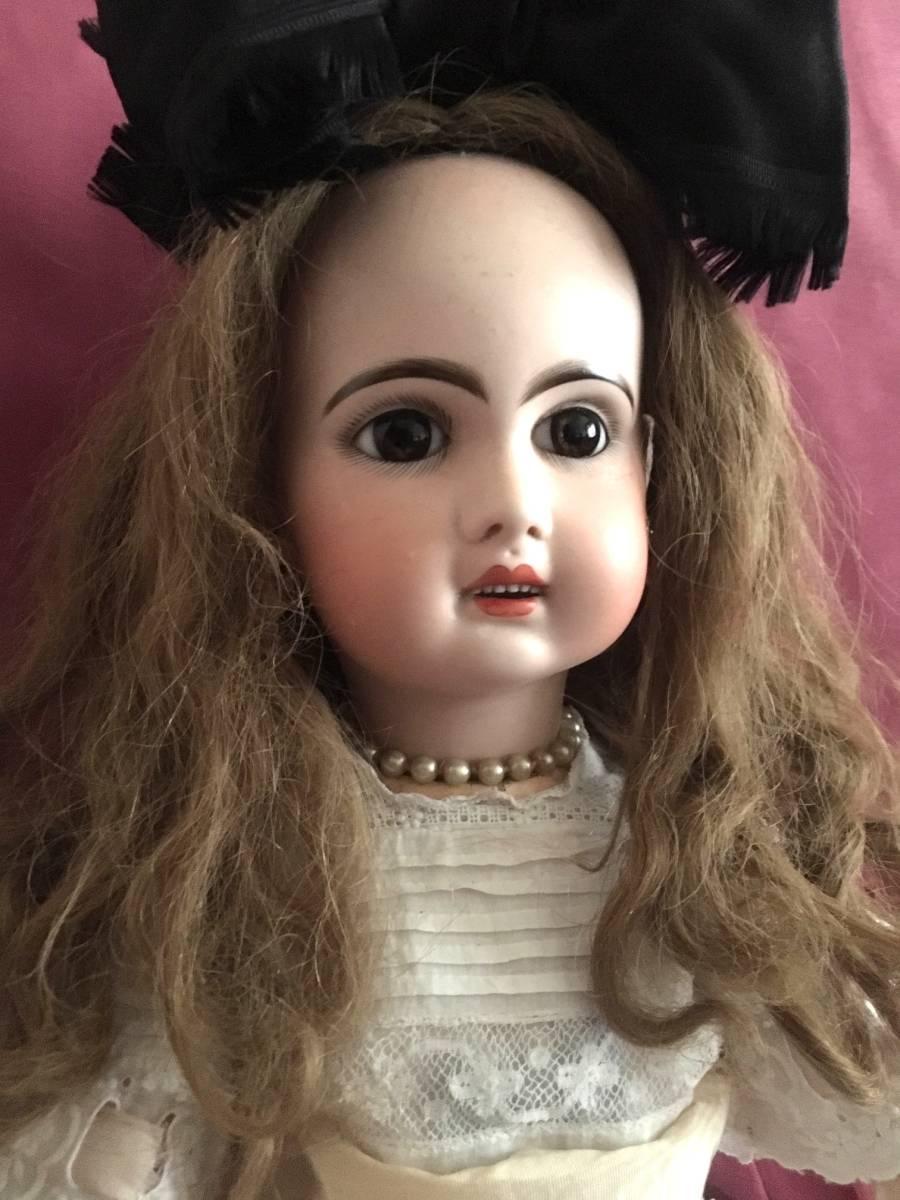 美しいゴールデンブラウンの瞳のJumeauジュモーアンティークビスクドール Xの刻印 9号オ