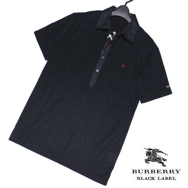新品 バーバリーブラックレーベル ホース刺繍【日本製】前立てノバチェック 鹿の子 キレイ目 半袖ポロシャツ 2(M)■BURBERRY BLACK LABEL_画像1