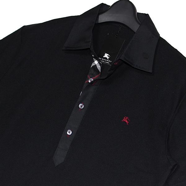 新品 バーバリーブラックレーベル ホース刺繍【日本製】前立てノバチェック 鹿の子 キレイ目 半袖ポロシャツ 2(M)■BURBERRY BLACK LABEL_画像2