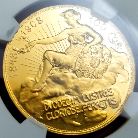 オーストリア 1908年 100コロナ金貨 プルーフ 雲上の女神 NGC PF60