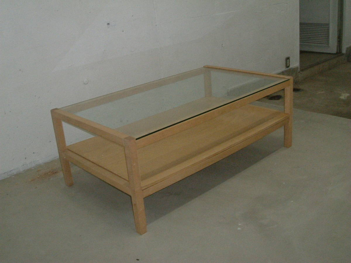 神奈川発 IKEA イケア製木製フレームガラステーブル 120×70×41cm 引取限定 割と綺麗_画像1