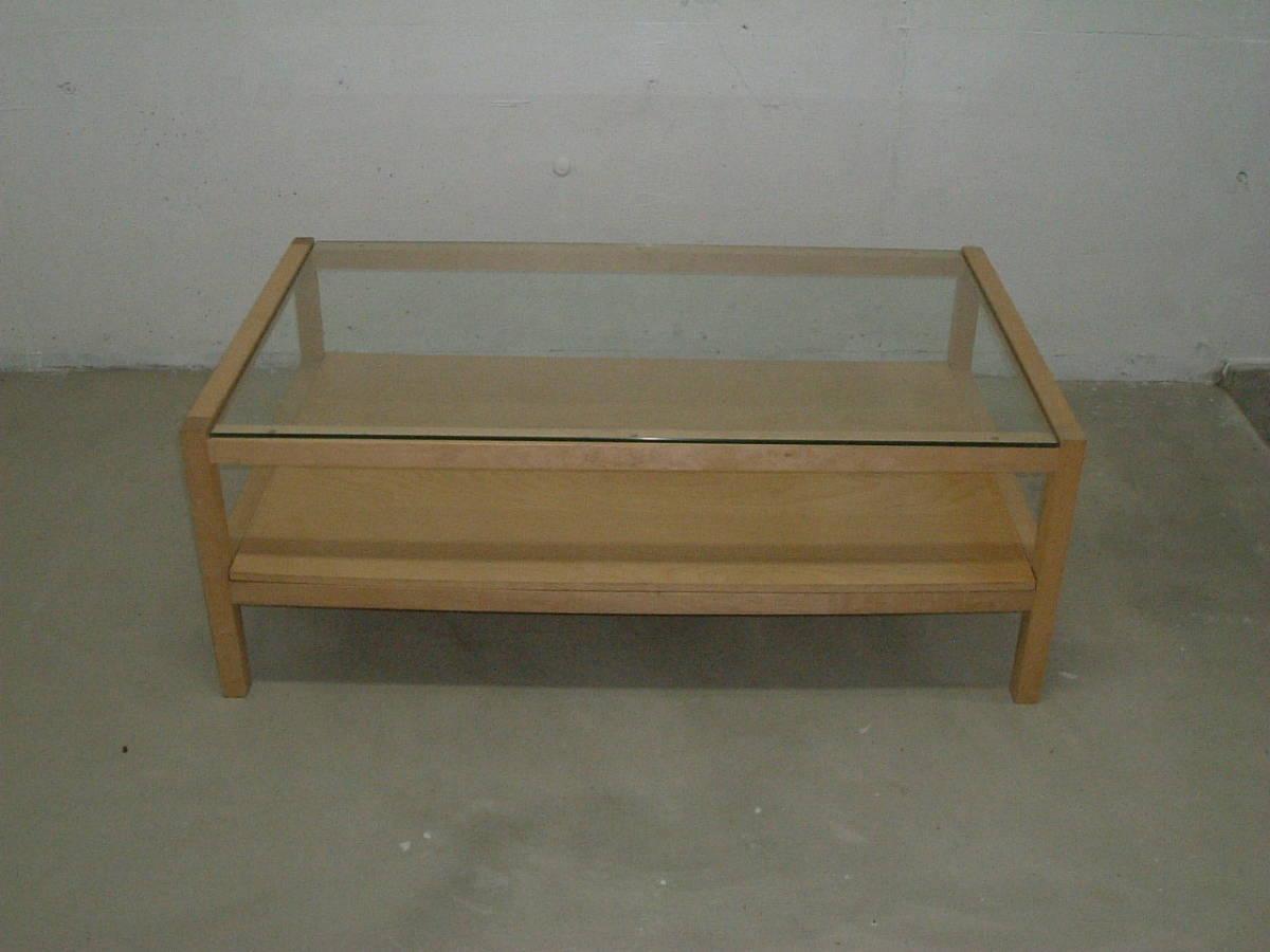 神奈川発 IKEA イケア製木製フレームガラステーブル 120×70×41cm 引取限定 割と綺麗_画像2